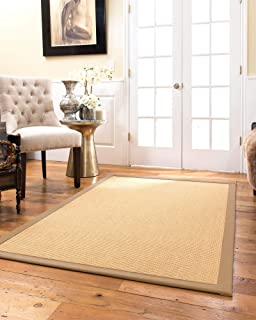 Natural Area Rugs 100% Natural Fiber Handmade Heavy Boucle, Beige Sisal Rug, 8' x 10' Wheat Border