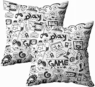 TOMKEY Standard Pillow Cases, 2 Packs Hidden Zippered 18X18Inch Computer Games Doodles..