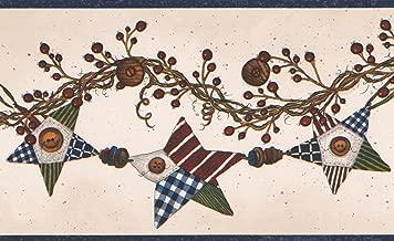 Brown Vine with Berries Colorful Stars Garland Coconut White Wallpaper Border Retro Design, Roll 15' x 5''
