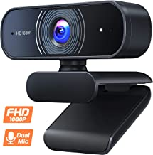 Roffie 1080P Webcam, Dual Built-in Microphones, Full HD Video Camera for Computers PC Laptop Desktop, USB Plug and Play, Conference Video Calling, Streaming
