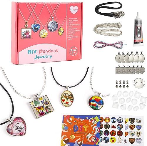 EFO SHM Cadeau Fille 6 à 12 Ans Kit Fabrication de Bijoux Pendentif Bracelet Enfant Cadeau Créatifs Collier DIY Art C...
