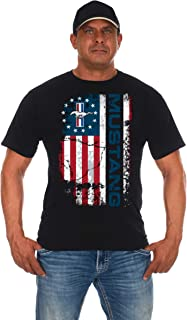 JH DESIGN GROUP Men's Ford Mustang Distressed U.S.A. Old Glory Flag T-Shirt