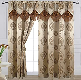 Venice Collections Luxury Jacquard Curtain Panel with Attached Waterfall Valance, 54 by 84-Inch Alexa Dark Beige