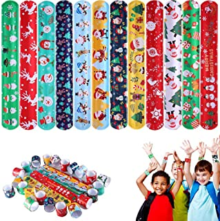 ThinkMax 48 Pcs Christmas Slap Bracelets, Party Favors Pack Colorful Retro Slap Bands