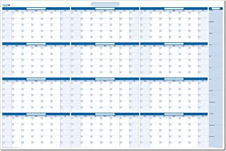 Sky Blue Large 38 in. x 58 in. Dry/Wet-erasable Undated Yearly Planner with No Month Titles. No Ghosting/Staining! (HOR, MA)