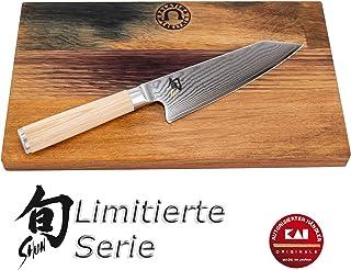 Palatina Werkstatt ® Kai Shun Classic White Kiritsuke DM-0777W - Cuchillo de cocina ultraafilado y limitado, hoja de 15 cm de 32 capas de acero de Damasco + tabla de roble robusta de 30 x 18 cm