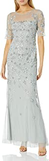 Adrianna Papell Women's Bead Illusion Gown, Frosted SAGE