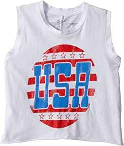 The Original Retro Brand Kids Sleeveless Crop USA Tank Top (Big Kids)