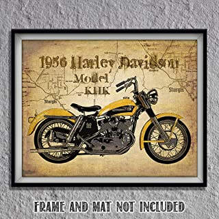 Harley Davidson- 1956 Model KHK Motorcycle Vintage Print on Sturgis Map- 8 x10 Wall Decor- Ready To Frame. Harley Davidson Gifts- Home Decor- Office Decor. Great for Man Cave- Game Room- Bar- Garage.