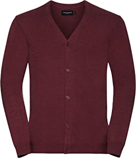 Russell Collection Mens V-Neck Knitted Cardigan