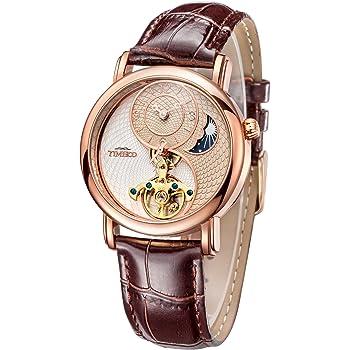 Time100自動巻き腕時計 太陽と月と星 天体 太極形 スケルトン 中空フライホイール 機械式 腕時計 メンズ レディース#W60012M.02A