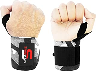 SAWANS Wrist Wraps Weight Lifting Powerlifting Bodybuilding Gym Training Straps Hand Bar Support with Thumb Loop (Sold in Pairs)