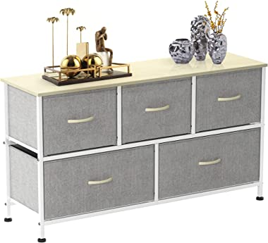 5 Drawer Dresser Storage, Fabric Storage Dresser for Bedroom or Nursery, Closet Dresser Organizers and Storage, Gray