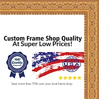 Poster Palooza 18x18 Ornate Gold Wood Picture Square Frame - UV Acrylic, Foam Board Backing, Hanging Hardware Included!