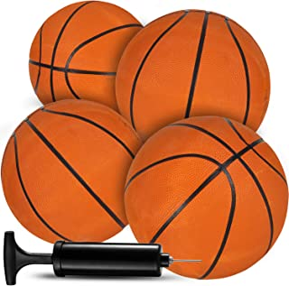 Bedwina Mini Rubber Basketballs (Pack of 4) 7 Inch Orange Basketball, for Sports Party's,Pool Game & Birthday Favors