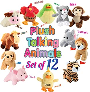 12 Plush Talking Animal Sound Toys by Animal House   Baby Gift & Party Favors