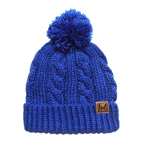 ce7a2ade2aa69 MIRMARU Winter Oversized Cable Knitted Pom Pom Beanie Hat with Fleece  Lining.