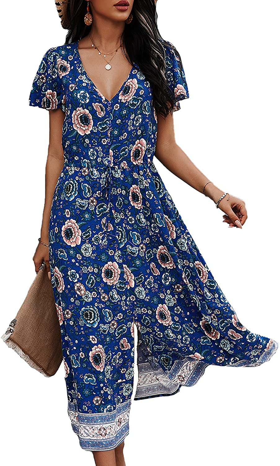 BROVAVE Womens Summer Casual Short Sleeve Floral Print Bohemian V Neck Flowy Midi Dress with Slit