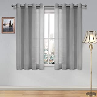 DWCN Sheer Curtains Grey Faux Linen Grommet Curtain for Bedroom 52x 45 Inches Long Set of 2 Panels,1 Pair Window Drapes for Living Room
