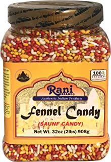 Rani Sugar Coated Fennel Candy 2lbs (32oz) 908g Bulk, PET Jar ~ Indian After Meal Digestive Treat | Vegan