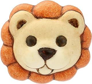 THUN ® - Orecchino singolo Basic leone - Ottone rodiato - Ceramica - perno in Acciaio inossidabile - 1x1 cm