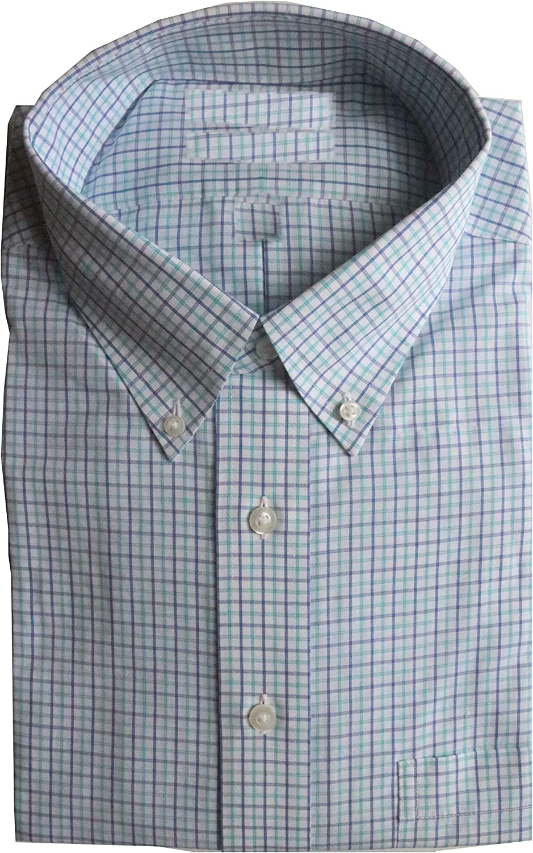 Gold Label Roundtree & Yorke Non-Iron Regular Button Down Check Dress Shirt G16A0178 Aqua Multi