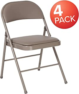 Flash Furniture 4 Pk. HERCULES Series Double Braced Gray Vinyl Folding Chair