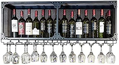 Wine Rack Wine Bar Wall Rack,Iron Art Hanging Wine Rack, Industry Hanging Bar Glass Rack&Hanging Bottle Holder (Black) Dfv...