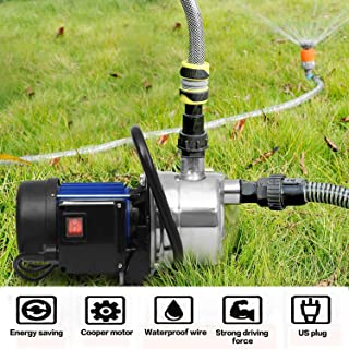 Hosmat 1.6HP Stainless Steel Water Pump Portable Shallow Well Pump Transfer Pump for Garden Irrigation and Pressure Booster