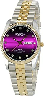 Swanson Japan Men's Two-Tone Day-Date Pink Vignette Stone Dial Watch with Travel Case