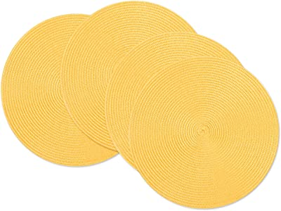 Dii Classic Woven Round Placemats 15 Diameter Aqua 6 Count Home Kitchen