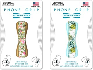 LoveHandle Universal Grip for Smartphone and Mini Tablet - Pineapple Flower Field Design Elastic Strap with Gold and Light Blue Base 2-Pack