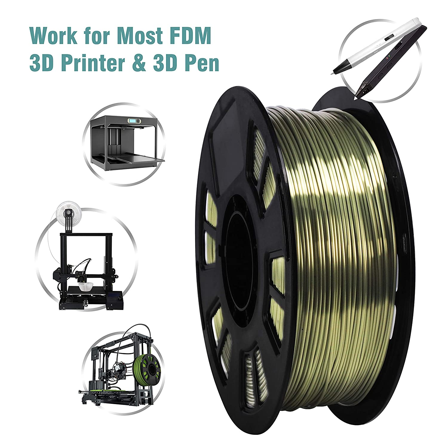 1.75mm Diameter 1kg Spool 2.2lbs DO3D Silk Bronze PLA Filament Metallic Shiny 3D Printing Material Widely Fit for FDM 3D Printers with One Bag Filament Sample Gift
