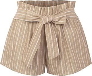 ab770460a KOGMO Womens Casual Striped Summer Beach Shorts with Self Tie Bow