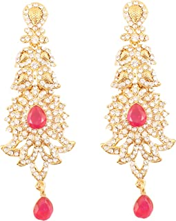 Indian Bollywood paisley Rhinestone designer bridal jewelry earrings for women in antique gold tone