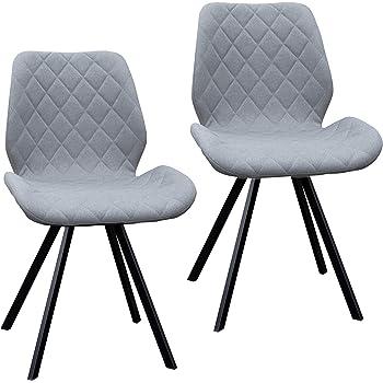 2er Set Esszimmerstuhl Polsterstuhl Stuhl Küchen Stuhl grau Dunkelgrau Hellgrau Stoff Metall Beine Retro gesteppt (Hellgrau)