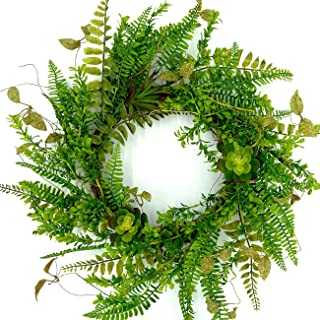 idyllic 20 Inches Artificial Spring Succulent Wreaths for Front Door Fern Leaves Greenery Wreath Farmhouse Style Home Decoration Twig Based