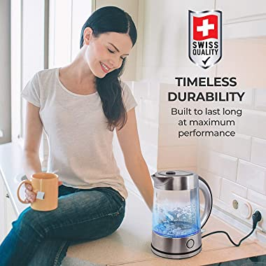 Pohl Schmitt 1.7L Electric Kettle with Upgraded Stainless Steel Filter, Inner Lid & Bottom, Glass Water Boiler & Tea