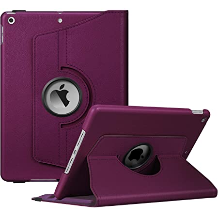 Fintie Rotating Case for New iPad 8th Gen (2020) / 7th Generation (2019) 10.2 Inch - [Built-in Pencil Holder] 360 Degree Rotating Smart Protective Stand Cover with Auto Sleep/Wake, Purple