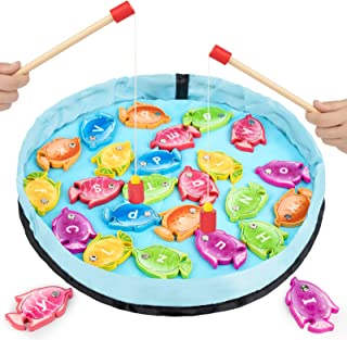 GAMENOTE Magnetic Alphabet Fishing Game for Toddlers - 26 Double Sided Wooden Fish with 2 Magnet Poles for Letter Recognit...