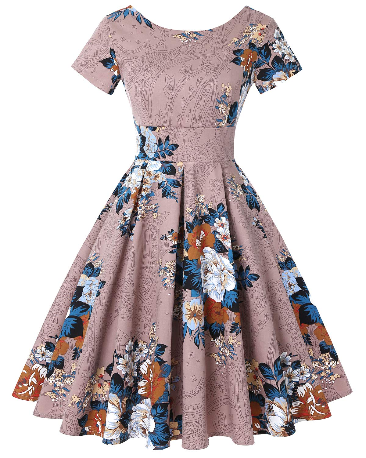 MINTLIMIT Womens 1950s Retro Vintage Cocktail Party Short Sleeve Swing Dress
