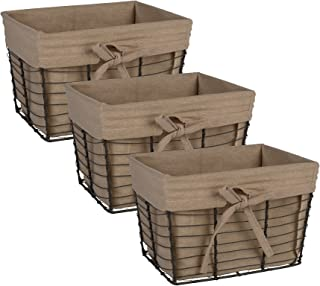 DII Vintage Grey Wire Basket for Storage Removable Fabric Liner, Small, Taupe, 3 Piece