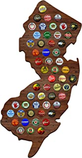 New Jersey Beer Cap Map with Dark Stain - NJ Craft Beer Cap Holder, Gifts for Men