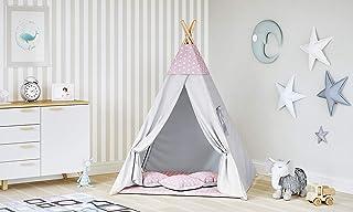 MALATEC Tipi tält för barn lektält indianer bomull 3 kuddar barntält inomhus utomhus 8702, färg: rosa stjärnor