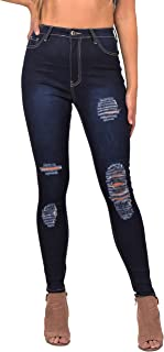 38d9cdfa98 LOVER BRAND FASHION High Waisted-Rise Ladies Colored Denim Stretch Skinny  Destroyed Ripped Distressed Jeans