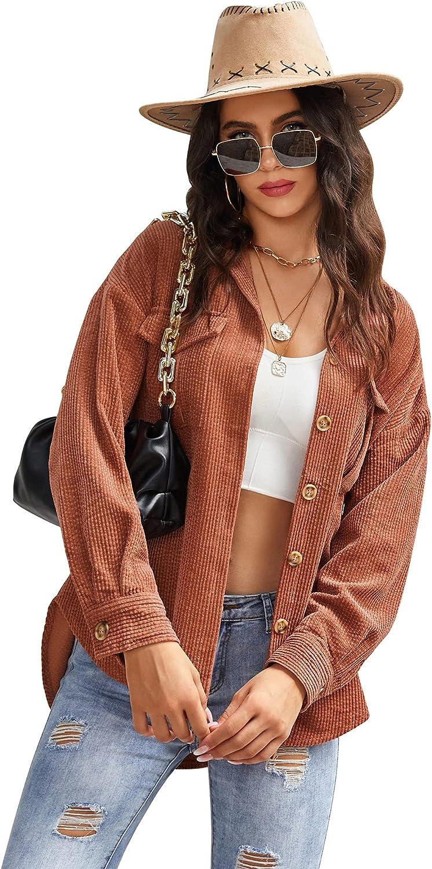 Beyove Women's Corduroy Shirt Long Sleeve Button Down Shacket Jacket Casual Oversized top with Pockets