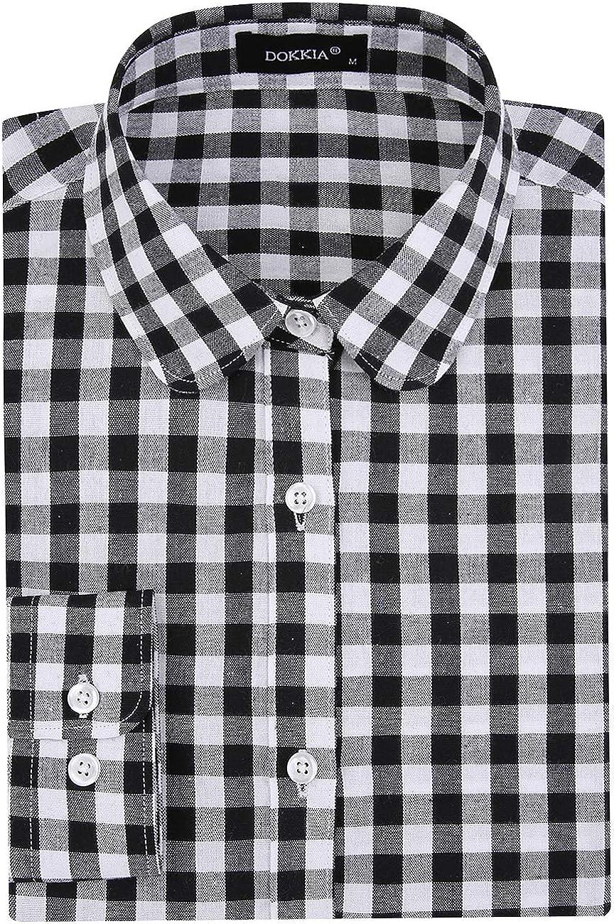 DOKKIA Women's Tops Blouses Long Sleeve Plaid Checked Gingham Tartan Button Down Work Dress Shirt