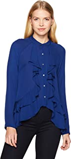 Nicole Miller Women's Double Silk GGT Button Down W/Ruffle Detail