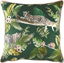 Evans Lichfield Jungle Leopard Cushion Cover, Green, 43 x 43cm