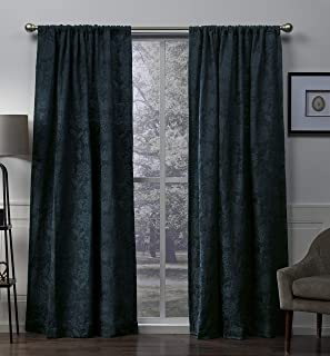 Exclusive Home Elle Chenille Floral Scroll Woven Blackout Rod Pocket Curtain Panel Pair, Teal, 52x108
